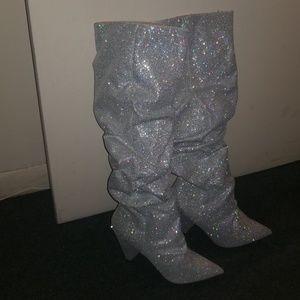 Cape Robbin Shoes - Cape Robbin  silver sequin boots size 9